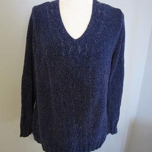 Purple Shimmering V-Neck Sweater ~ Size Large